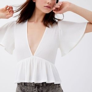 Urban Outfitters Ribbed Plunging Babydoll Blouse